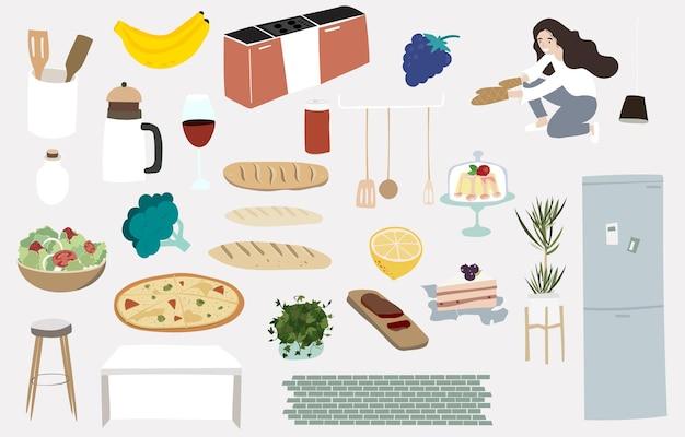 Objeto de cozinha fofo com comida, frutas e móveis para criança