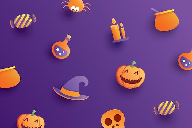 Objeto de elemento de halloween em estilo de papel de arte em fundo roxo.