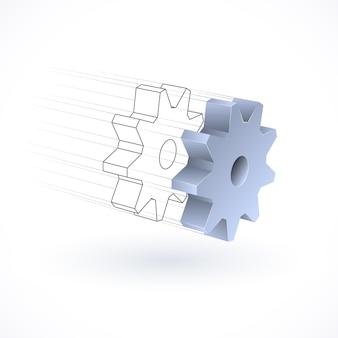 Objeto de engrenagem mecânica, projeto conceitual tecnológico abstrato.