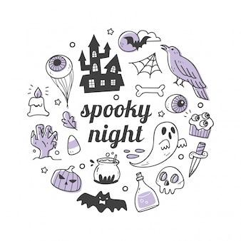 Objeto de halloween kawaii no estilo doodle