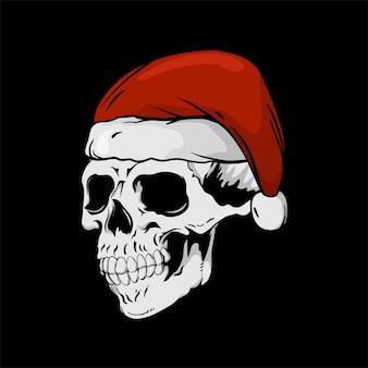 Objeto de natal para camiseta com chapéu de papai noel caveira