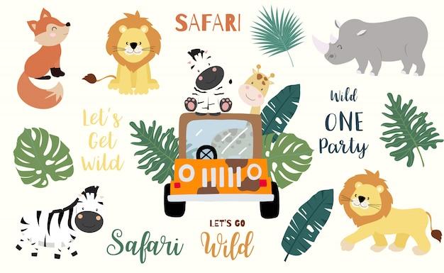 Objeto de safari com raposa, girafa, zebra, leão, folhas, carro.