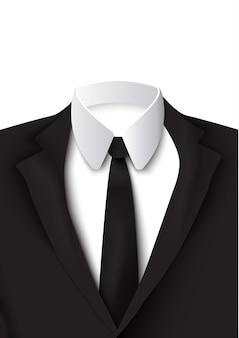 Objeto de terno preto realista em branco com camisa de algodão, gravata rígida e elegante colorida como jaqueta isolada