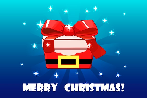 Objeto de vetor de embalagens criativas de papai noel vermelho presente de natal fofo
