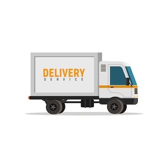 Objeto de vetor isolado caminhão de entrega dos desenhos animados. automóvel de carga no fundo branco. ícone de logística