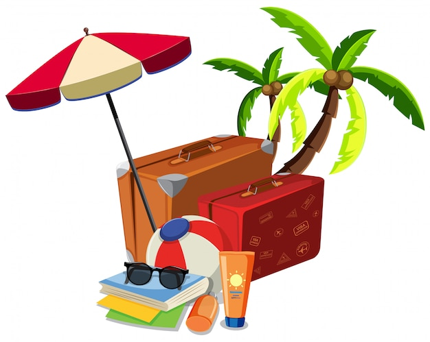 Objeto de viagens de verão praia