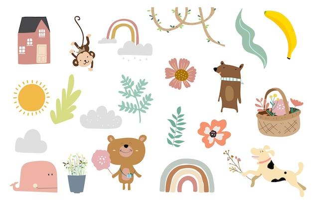 Objeto fofo com animal, casa, flor para criança
