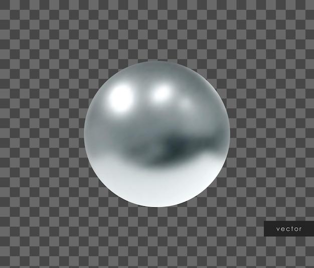 Objeto geométrico 3d. esfera de prata metálica isolada. vetor.