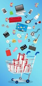 Objeto geral flutuando sobre a caixa de presente em um carrinho de compras