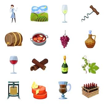 Objeto isolado de símbolo de uva e adega. conjunto de uva e fabricação de símbolo de ações para a web.