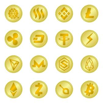 Objeto isolado de sinal de moeda e bitcoin. conjunto de símbolo de estoque de moeda e internet para web