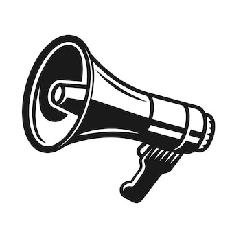 Objeto megafone preto isolado no branco Vetor Premium