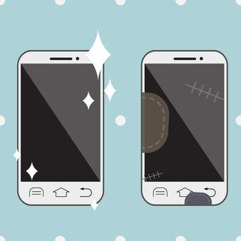 Objeto novo e velho dos desenhos animados do smartphone