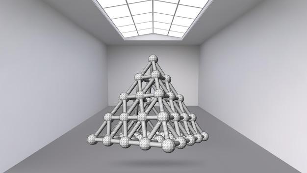 Objeto poligonal abstrato de suspensão. a sala branca com o assunto no meio. espaço expositivo de objetos de arte moderna. objetos de ficção científica. grade volumétrica estrutural.