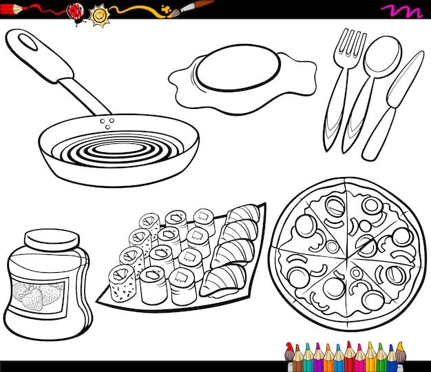 Objetos alimentares definem a página para colorir