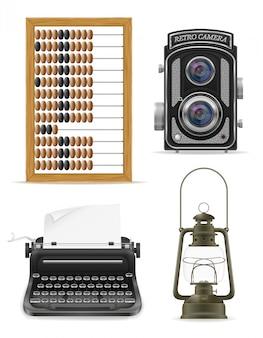Objetos antigos retro vintage elementos vetoriais ilustração