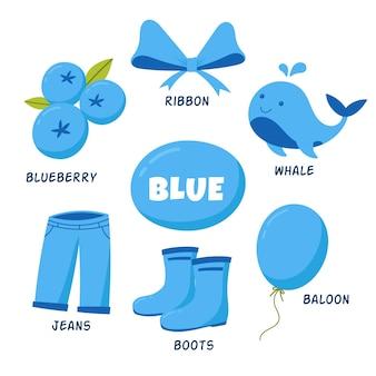 Objetos azuis e vocabulário definidos em inglês