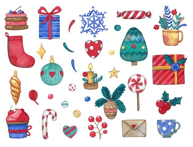 Objetos bonitos de natal em aquarela, incluindo a árvore de natal