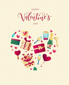 Objetos bonitos do dia dos namorados e elementos para cartões. texto de letras de mão.