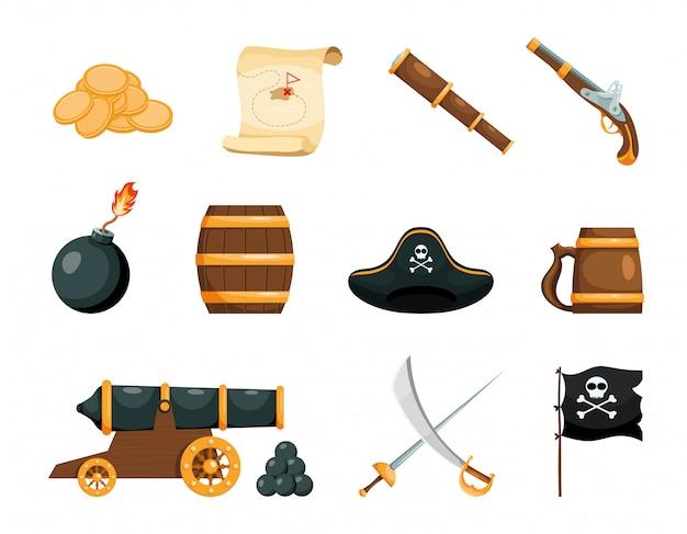 Objetos brilhantes do jogo pirata