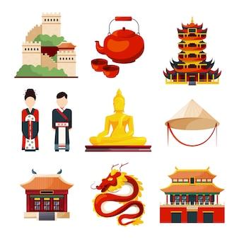 Objetos culturais chineses tradicionais em estilo de vetor