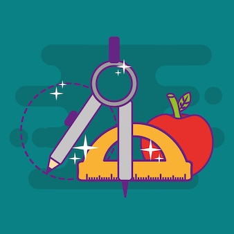 Objetos de apple de transferidor bússola escola geometria