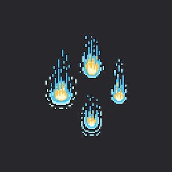 Objetos de chama azul de pixel