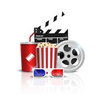 Objetos de cinema isolados no branco