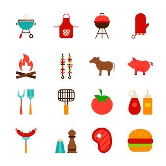 Objetos de comida de churrasco. ilustração em vetor estilo simples. coleção de itens para churrasco isolados sobre o branco.