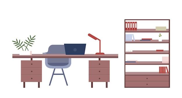 Objetos de cores planas para móveis de escritório