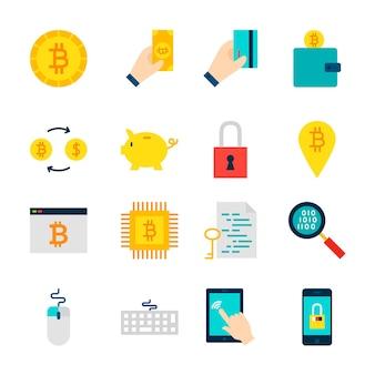 Objetos de criptomoeda bitcoin. conjunto de itens financeiros isolados sobre o branco.