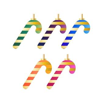 Objetos de elementos decorativos de árvore de natal em formas de doces