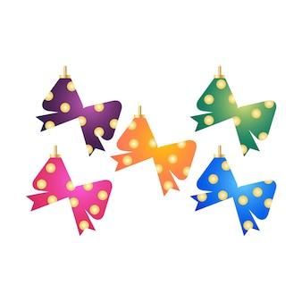 Objetos de elementos decorativos de árvore de natal em formas de laço de fita