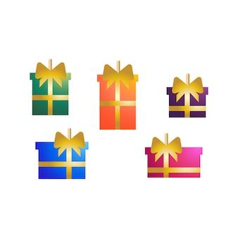 Objetos de elementos decorativos de árvore de natal em formato de caixa de presente