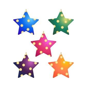 Objetos de elementos decorativos de árvore de natal em formato de estrela