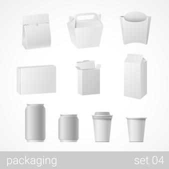 Objetos de embalagem em branco isolados na ilustração branca