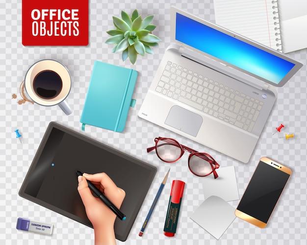 Objetos de escritório 3d isolados