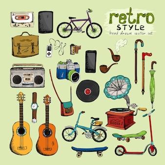 Objetos de estilo retro moderno: câmera guarda-chuva bicicleta relógio tubo