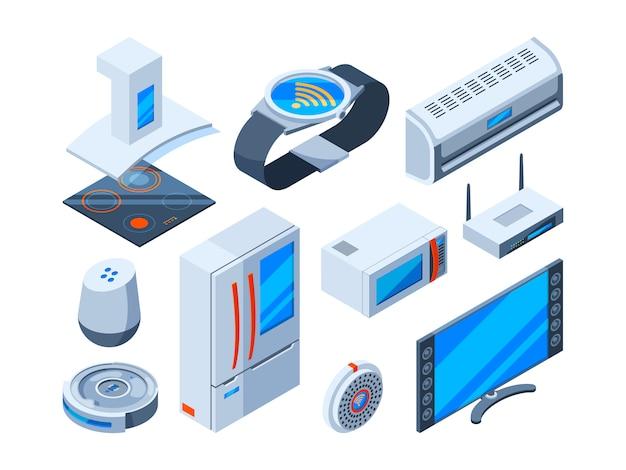Objetos de famílias inteligentes. ferramentas domésticas com tecnologias da internet dispositivos de segurança eletrônica controlam imagens isométricas do monitor