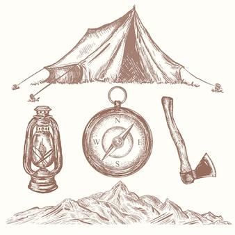 Objetos de férias camping mão desenhados elementos