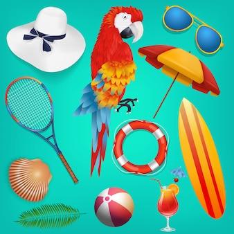 Objetos de férias de verão