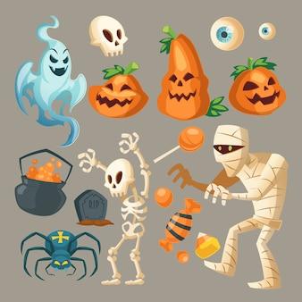 Objetos de halloween - fantasma assustador, múmia assustadora e aranha escura.