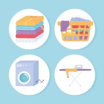 Objetos de ícone de roupa suja