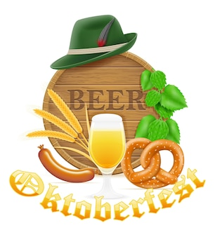 Objetos de ícones e elementos de design para ilustração de festivalvector de cerveja oktoberfest isolado no fundo branco