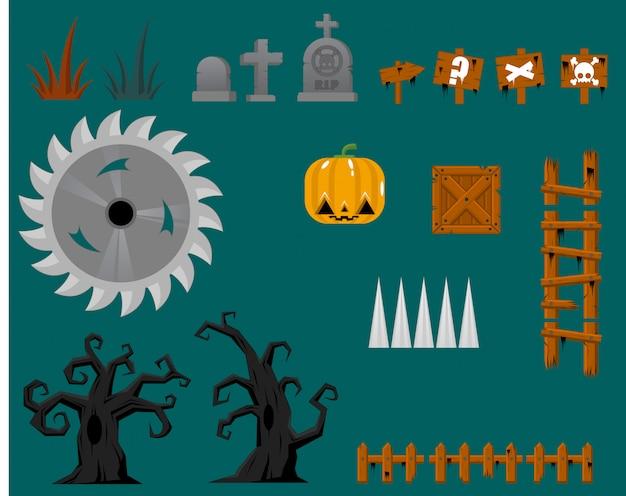 Objetos de jogo de halloween