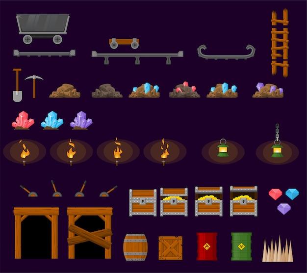 Objetos de jogo de minas subterrâneas