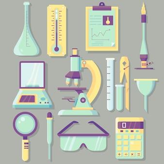 Objetos de laboratório de ciências em tons pastel