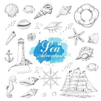 Objetos de mar isolado em um fundo branco
