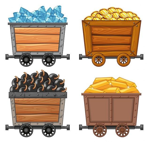Objetos de mineração em ilustração de vagão de madeira