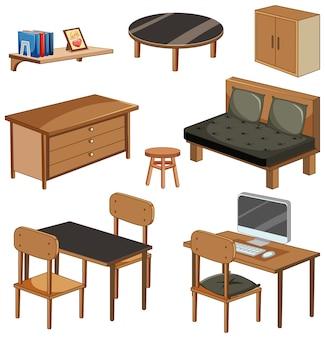Objetos de mobília da sala de estar isolados no fundo branco